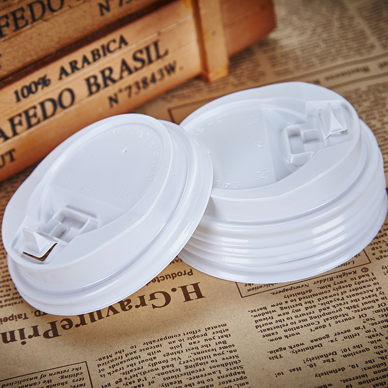 Disposable White Paper Coffee Cup Plastic Lid