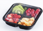 American Style Disposable Square Black PP Plastic Food Container with Clear Lid