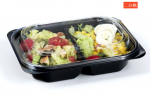 2 Compartments Transparent Disposable Plastic Lunch Food Box